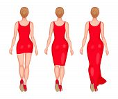 Slender women dressed in red slinky dresses. Mini, midi and maxi. Back view. Beauty and fashion concept poster