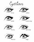 Types of eye makeup. Cat Eyeliner Tutorial. Hand drawn illustration of eyebrow line make up sketches isolated. Stylish make up. Vogue beauty article magazine book. poster