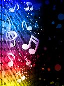 Vector - Party Abstract Colorful Waves on Black Background with Music Notes poster