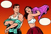 Morning man and woman dress up. Underwear pop art retro vector. Husband and wife get out of bed. Lovers and sex poster