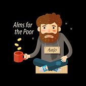Street beggar. Unemployed, homeless icon Alms vector illustration poster