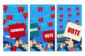 Election campaign election vote election poster holding posters election banner supporting team voters support people with placards. Vector. poster