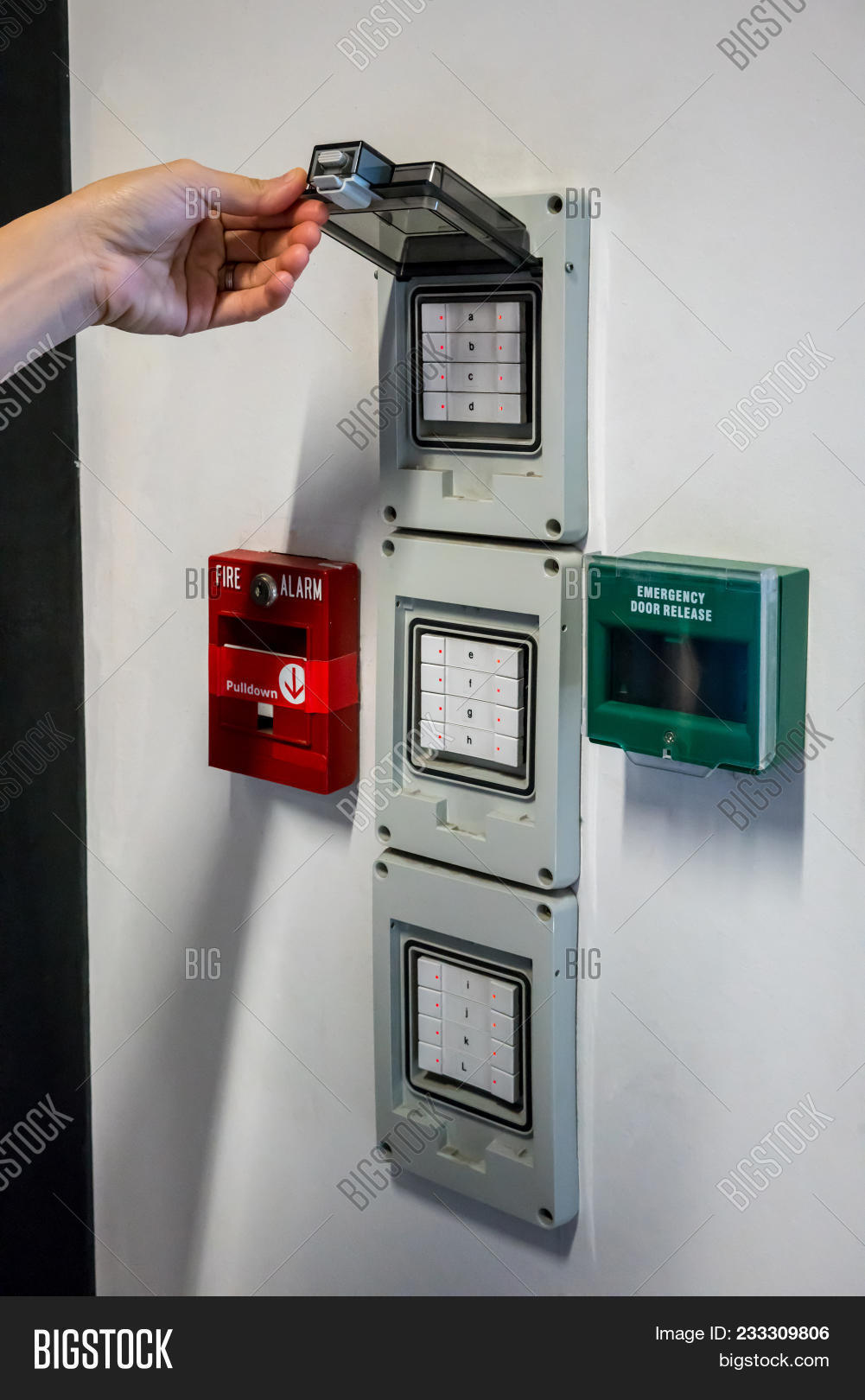 Hand Open Electric Box Image Photo Free Trial Bigstock Electronic Door Release Switch Near The Push In Pull Down Case Of Fire