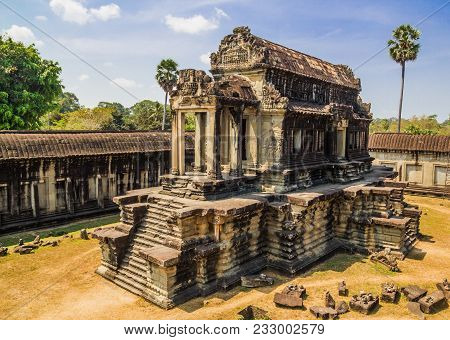 Ancient Building On The Territory Of Angkor Wat Temple At Angkor Complex, Siem Reap, Cambodia