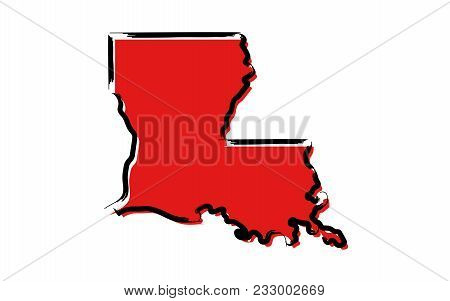 Stylized Red Sketch Map Of Louisiana Illustration Vector