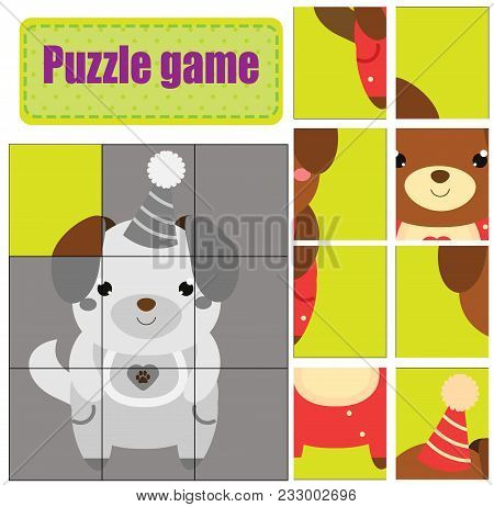 Puzzle For Toddlers. Cute Puppy. Match Pieces And Complete The Picture. Activity For Pre School Year