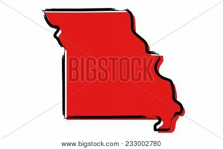 Stylized Red Sketch Map Of Missouri Illustration Vector