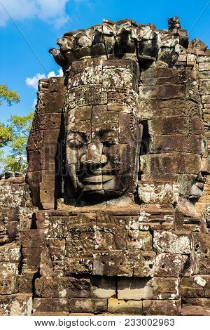 The Stone Buddah Faces In The Bayon Temple At Angkor Complex, Siem Reap, Cambodia