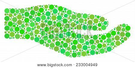 Share Hand Composition Of Dots In Variable Sizes And Green Color Tints. Vector Round Elements Are Co