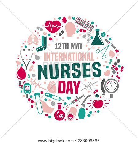 International Nurse Day Image. Vector Illustration In Pink, Green And Grey Colors Isolated On A Whit