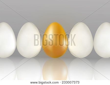 Single Golden Egg Shines Among Ordinary White Eggs. The Concept Of Uniqueness. One Row Of Eggs Backg