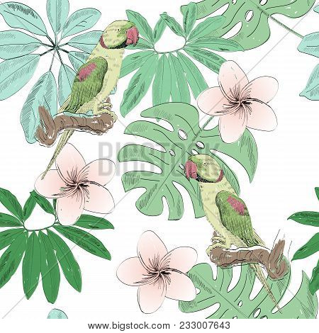 Tropical Seamless Vector Pattern With Parrot And Flowers.