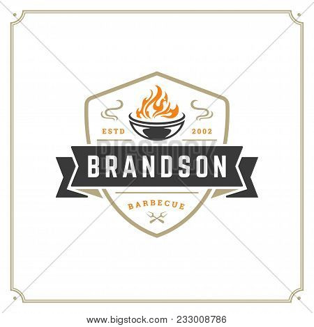 Grill Restaurant Logo Vector Illustration. Barbecue Steak House Menu Emblem, Grill And Flame Silhoue