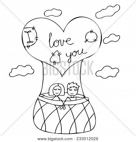 Love Couple Fly Up On The Air Balloon Vector Illustration