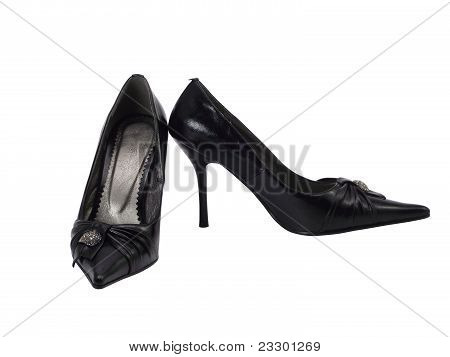 Black Female Shoes On A High Heel