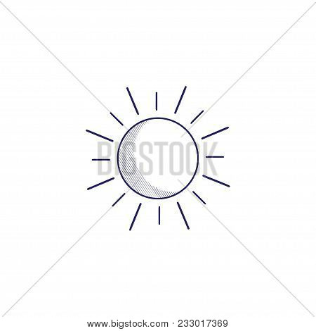 Minimalistic Hand-drawn Icon With The Sun.  Hatched Web Icon. Internet Symbol For Your Website Desig