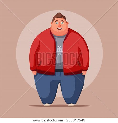 Happy Fat Man. Obese Character. Fatboy. Cartoon Vector Illustration. Concept Of Weight. Funny Cartoo