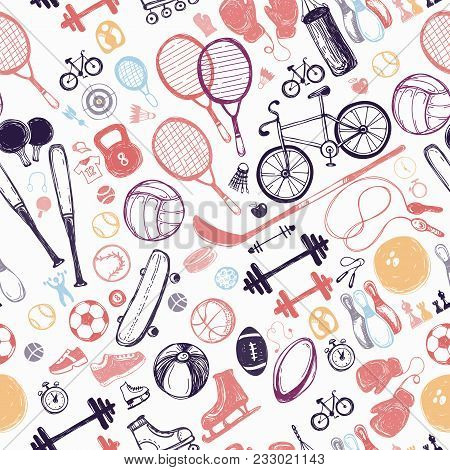Sport Sketch Equipment Seamless Pattern. Hand Drawn Doodle Icon Background Of Recreation And Leisure