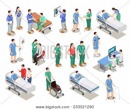 Hospital Staff, Doctors And Patients, Medical Examination, Clinic Equipment, Set Of Isometric People