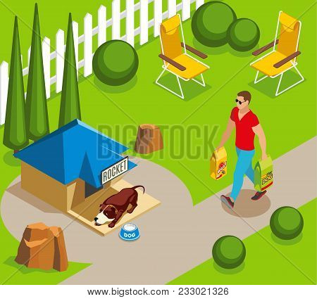 Ordinary life of dog and owner, canine sleep in garden, man with dry feed isometric vector illustration poster