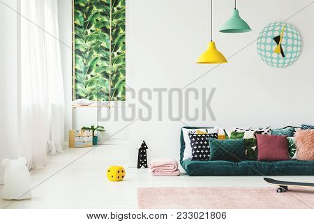 Green Kid's Room With Clock