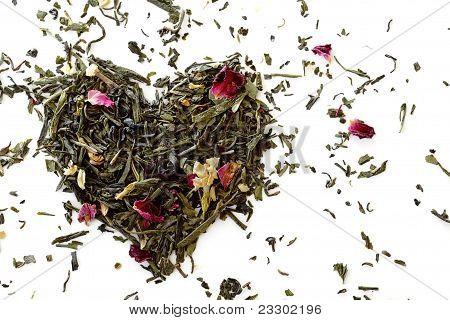 Green tea heart shape