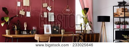 Plants In Red Living Room