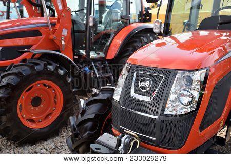 Kaunas, Lithuania - March 23: Kioti Tractors On March 23, 2018 In Kaunas, Lithuania. Kioti Tractors