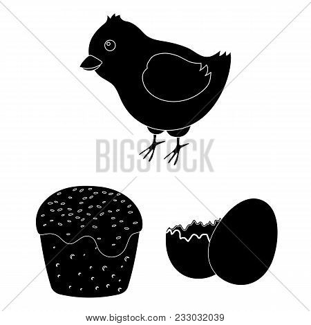 Easter Is A Christian Holiday Black Icons In Set Collection For Design. Easter Attributes Vector Sym