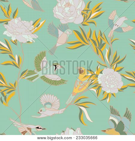 Bright Wide Vintage Seamless Background Pattern. Peony, With Humming Birds Around. Stylized On Blue