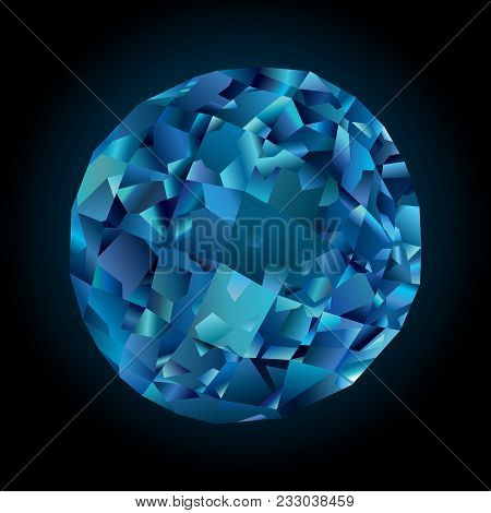 Art With Blue Shiny Faceted Topaz On Dark Background