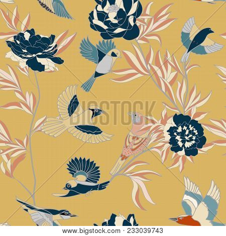 Bright Wide Vintage Seamless Background Pattern. Peony, With Humming Birds Around. Stylized On Orang