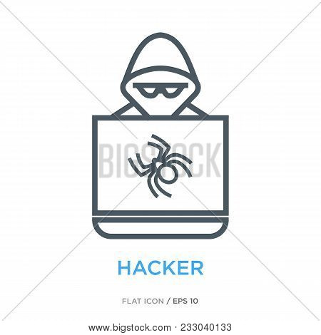 Intruder For A Laptop As Hacker Symbol. Simple Line Flat Icon.