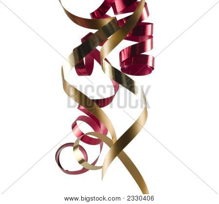Gold and red ribbon on white