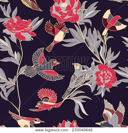 Bright Wide Vintage Seamless Background Pattern. Peony, With Humming Birds Around. Stylized On Dark