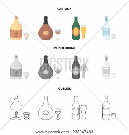 Tequila, Cognac, Beer, Vodka.alcohol Set Collection Icons In Cartoon, Outline, Monochrome Style Vect