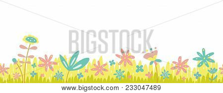 Spring Cute Green Grass And Flowers Seamless Border, Easter Greeting Card With Season Elements, Flat