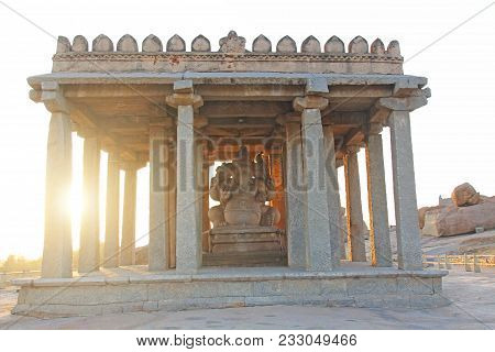 Holy Ganesha Temple In Hampi Sunset, Karnataka, India.
