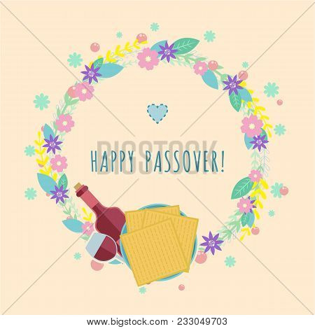 Vector Illustration For Passover Jewish Holidays. Flat Design.