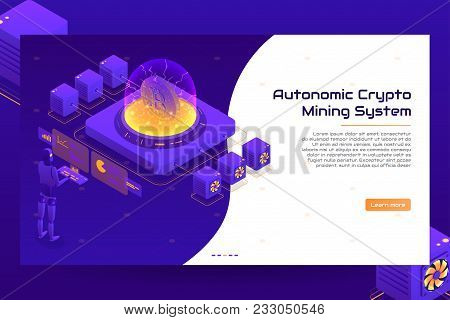 Isometric Crypto Mining Concept Banner. Concept Of Cryptocurrency Mining. Vector Illustration With R