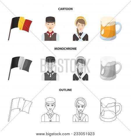 National Flag, Belgians And Other Symbols Of The Country.belgium Set Collection Icons In Cartoon, Ou
