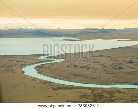 Aerial Photo Of Sinuous, Winding River With Exotic Colors. El Calafate, Patagonia, Argentina