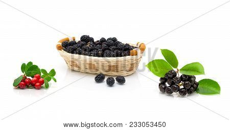 Ripe Berries Isolated On White Background. Horizontal Photo.