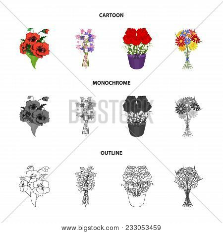 A Bouquet Of Fresh Flowers Cartoon, Outline, Monochrome Icons In Set Collection For Design. Various