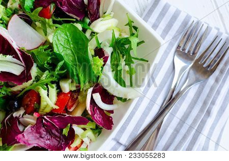 Fresh Summer Green Salad Mix With Salad Lettuce, Spinach, Fennel, Celery, Tomatoes, Radish, Olives,