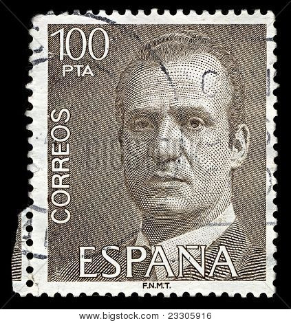 SPAIN-CIRCA 1981:A stamp printed in SPAIN shows image of Juan Carlos I (Juan Carlos Alfonso Victor Maria de Borbon y Borbon-Dos Sicilias) is the reigning King of Spain,circa 1981