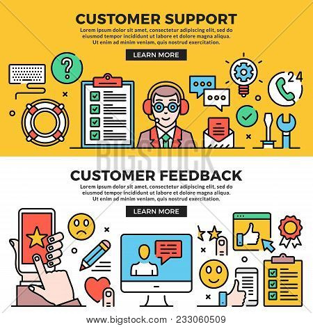 Customer Support, Customer Feedback Web Banners Set. Line Art Concepts. Creative Modern Flat Design