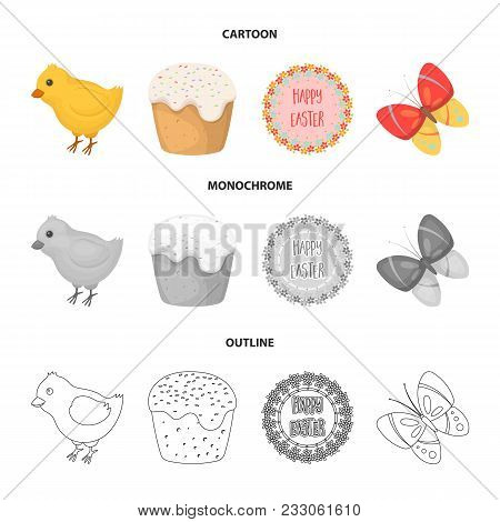 Easter Cake, Chicken, Butterfly And Greeting Sign.easter Set Collection Icons In Cartoon, Outline, M