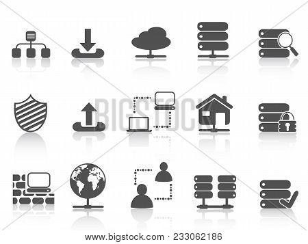 Isolated Black Network Server Hosting Icons Set From White Background