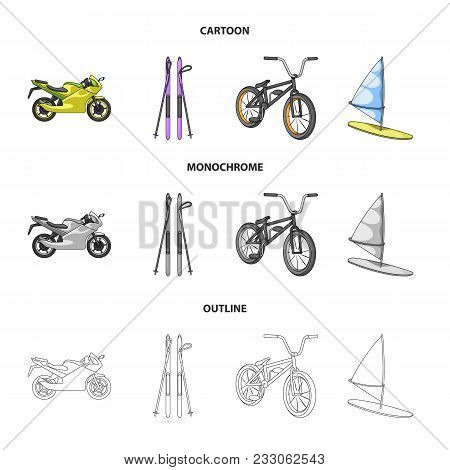 Motorcycle, Mountain Skiing, Biking, Surfing With A Sail.extreme Sport Set Collection Icons In Carto